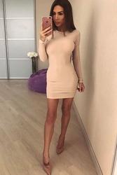Трикотажное стильное пудрового цвета платье Хит !