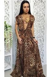 Пляжная туника с принтом леопард шифон женская универсал
